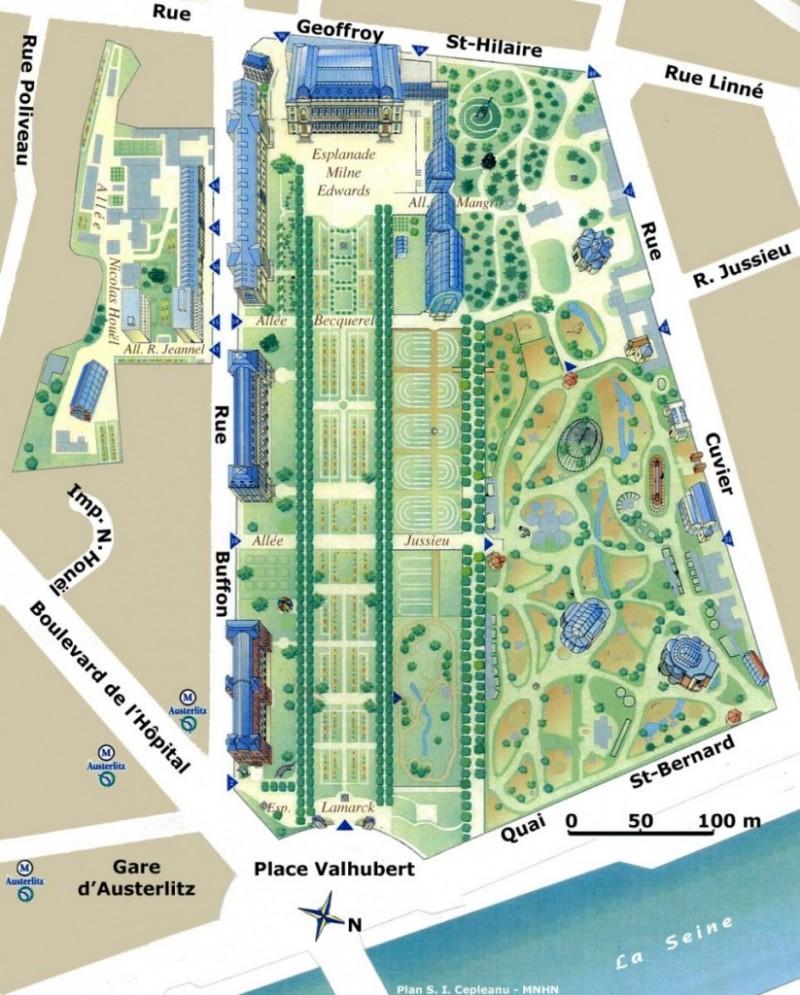 Сад растений в Париже - план